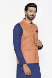 Banarasi Art Silk Cotton Blend Red Nehru Jacket