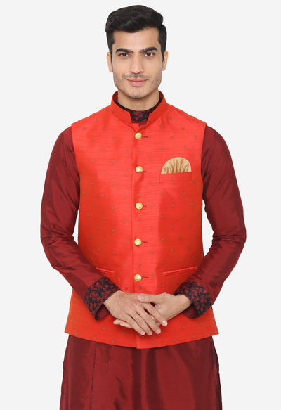 Banarsi Rayon Cotton Orange Nehru Modi Jacket