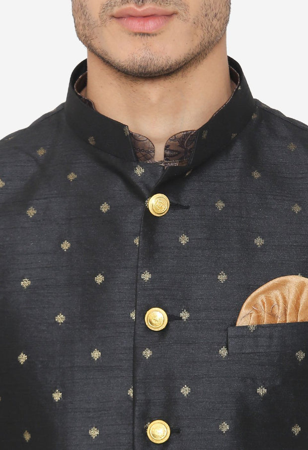 Banarsi Rayon Cotton Black Nehru Modi Jacket