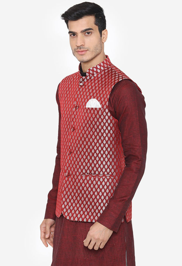 Banarsi Rayon Cotton Red Nehru Modi Jacket