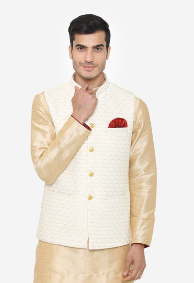 Banarsi Rayon Cotton White Nehru Modi Jacket