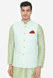 Banarsi Rayon Cotton Green Nehru Modi Jacket