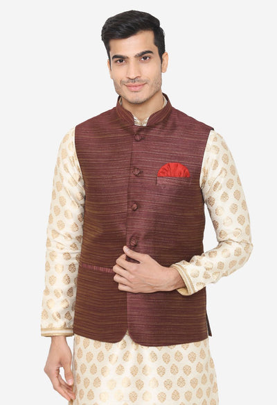 Banarsi Rayon Cotton Brown Nehru Modi Jacket