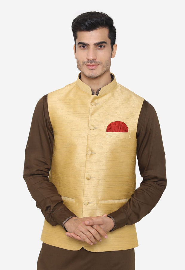 Banarsi Rayon Cotton Gold Nehru Modi Jacket