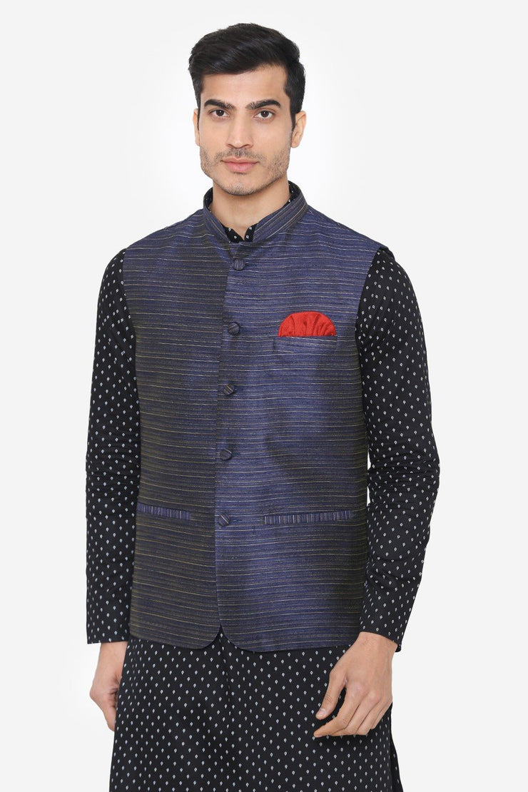 Banarsi Rayon Cotton Blue Nehru Modi Jacket
