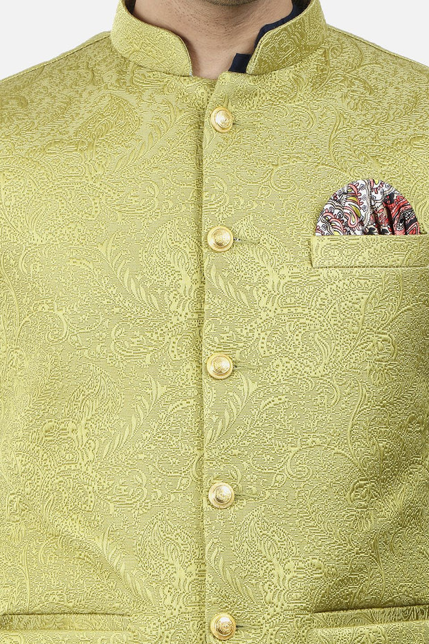 Jacquard Fabric Yellow Nehru Modi Jacket
