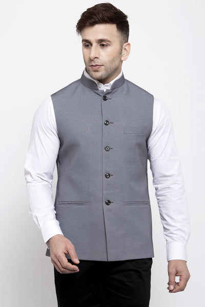 WINTAGE Men's Poly Cotton Festive and Casual Nehru Jacket Vest Waistcoat : Grey