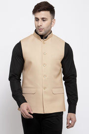 WINTAGE Men's Poly Cotton Festive and Casual Nehru Jacket Vest Waistcoat : Beige