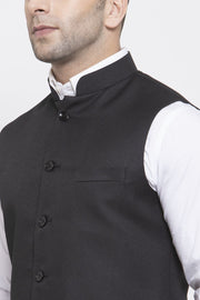 WINTAGE Men's Poly Cotton Festive and Casual Nehru Jacket Vest Waistcoat : Black