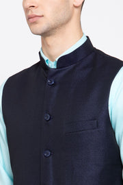Wintage Men's Poly Blend Formal and Evening Nehru Jacket Vest Waistcoat : Navy Blue
