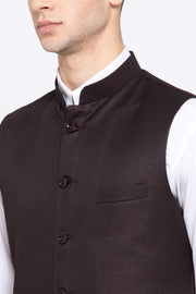 Wintage Men's Poly Blend Formal and Evening Nehru Jacket Vest Waistcoat : Coffee