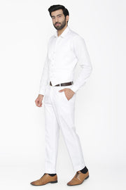 Polyester Cotton White Vest and Pant Set