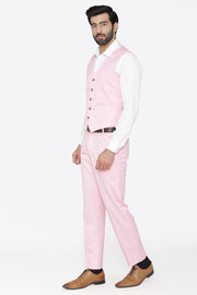 Polyester Cotton Pink Vest and Pant Set