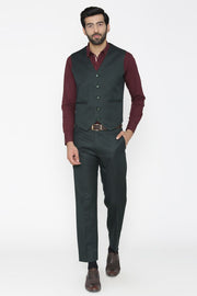 Polyester Cotton Green Vest and Pant Set
