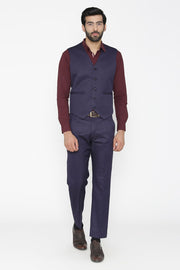 Polyester Cotton Blue Vest and Pant Set