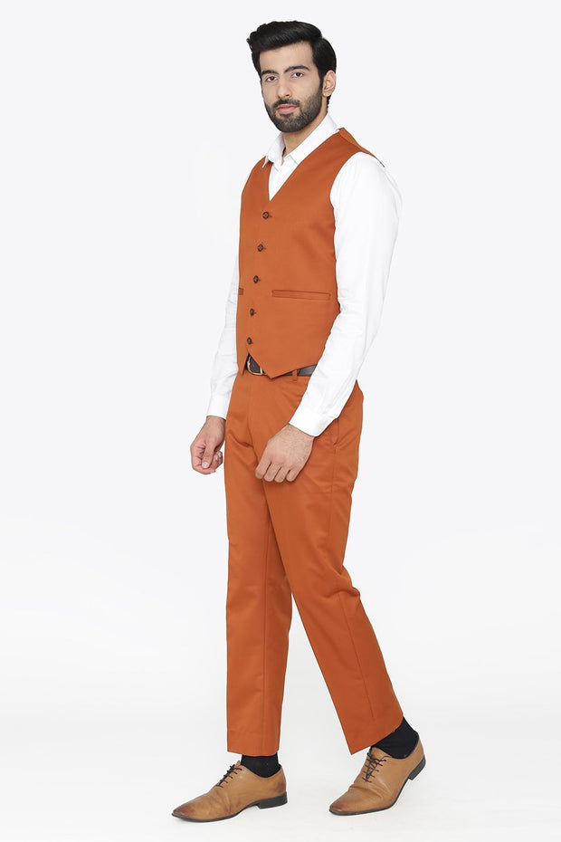 Polyester Cotton Orange Vest and Pant Set