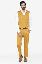Polyester Cotton Brown Vest and Pant Set