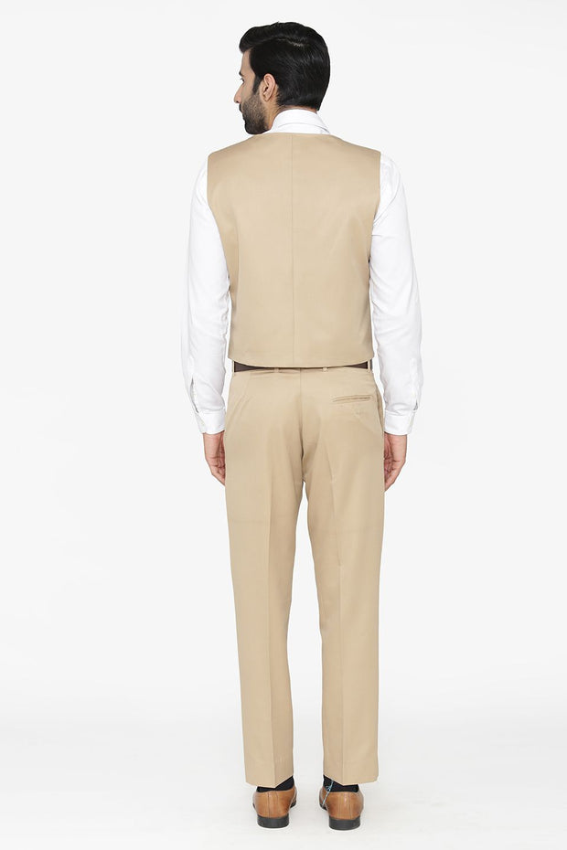 Polyester Cotton Beige Vest and Pant Set