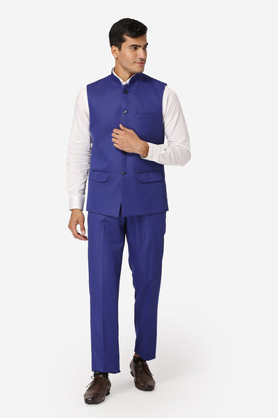 WINTAGE Men's Poly Cotton Casual and Evening Vest & Pant Set : Blue