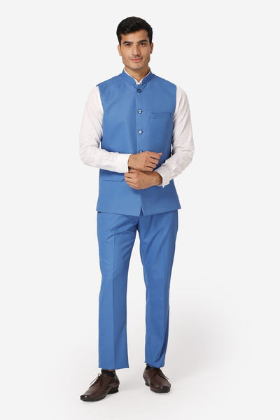 WINTAGE Men's Poly Cotton Casual and Evening Vest & Pant Set : Light Blue
