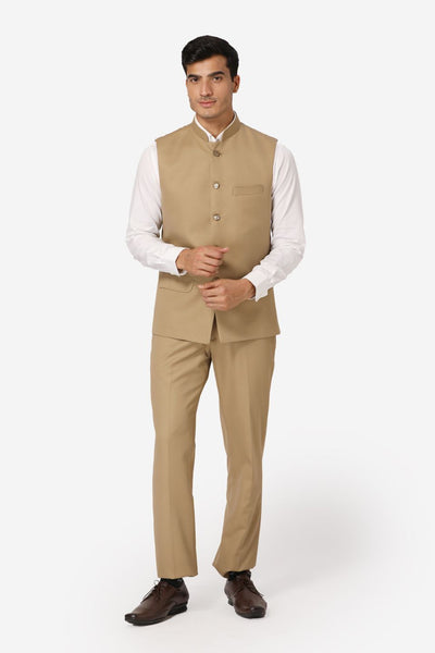 WINTAGE Men's Poly Cotton Casual and Evening Vest & Pant Set : Beige