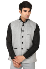 Rayon Cotton Silver Nehru Jacket
