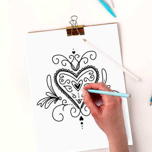 Free Valentines Hearts Coloring Page