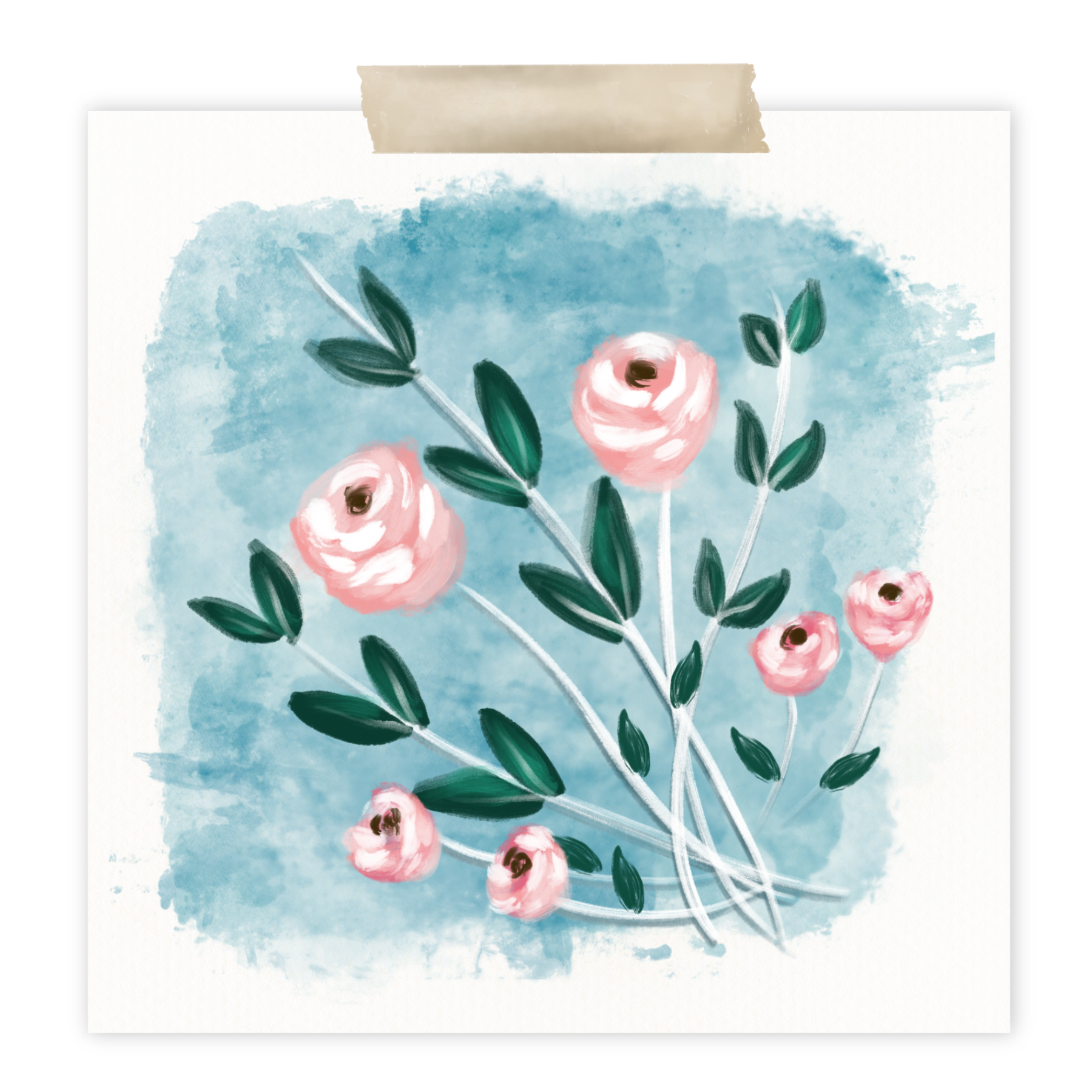 How to Create Pink Mixed Media Flowers in Procreate