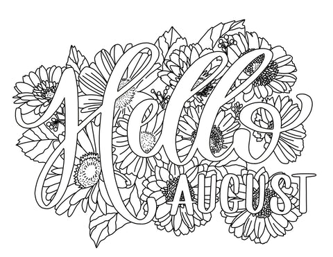 Free August Coloring Page Printable Haven