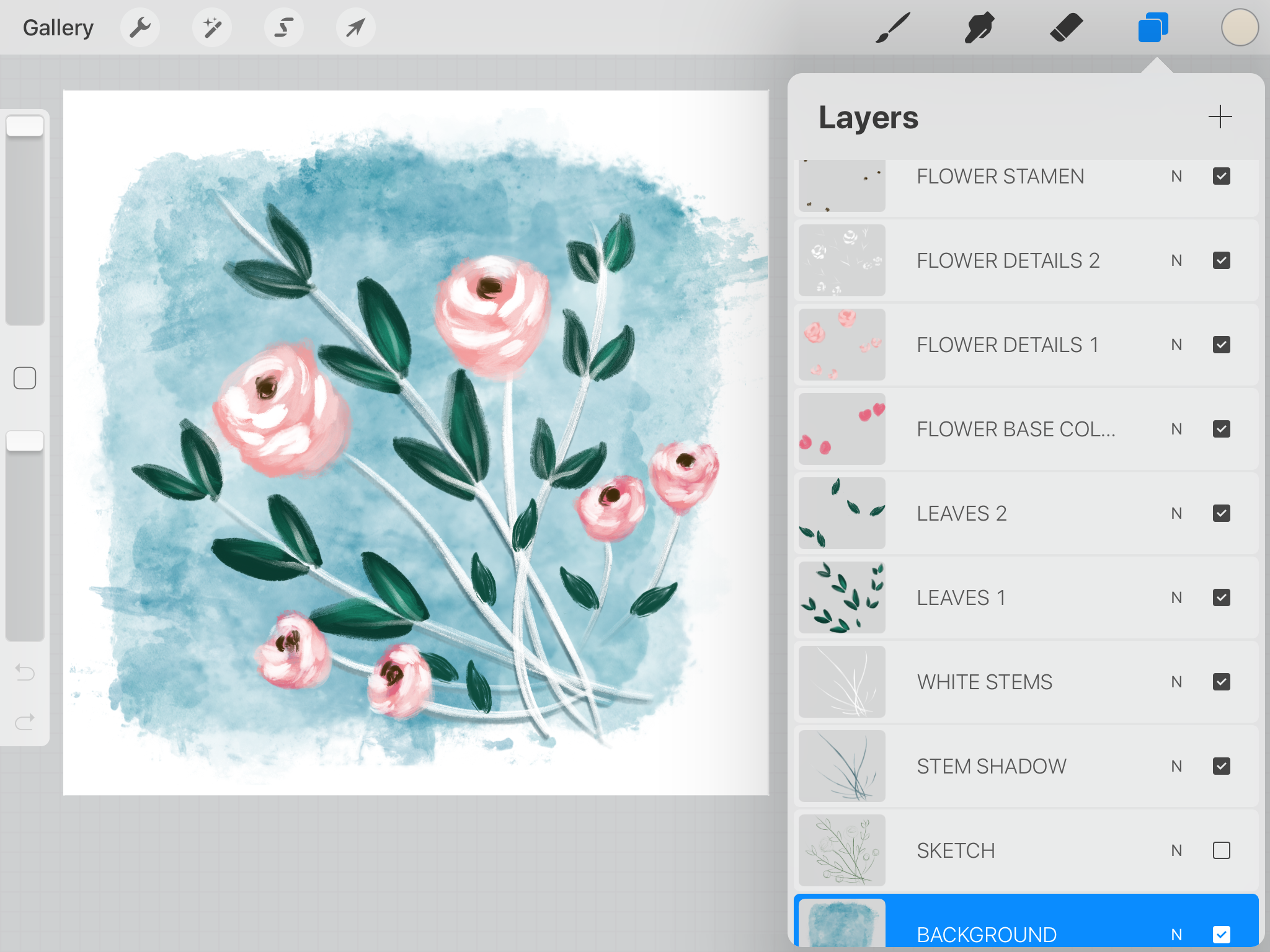 Pink Mixed Media Flowers Procreate Screen