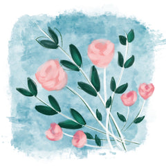 Pink mixed media flowers layer color on flowers