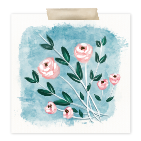 Pink mixed media flowers in Procreate