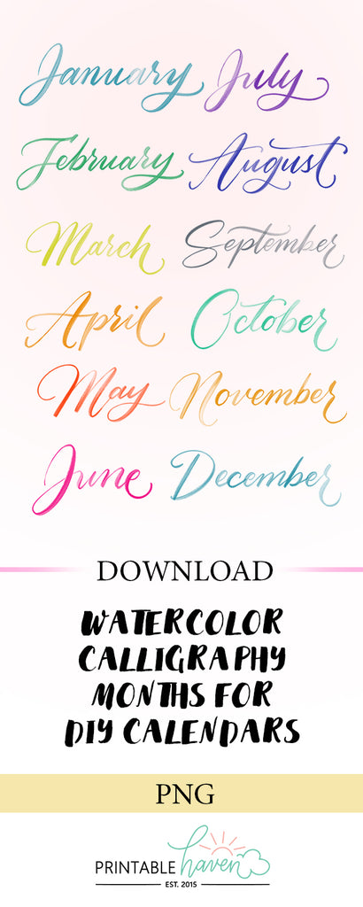 Watercolor Calligraphy Months - Multicolored