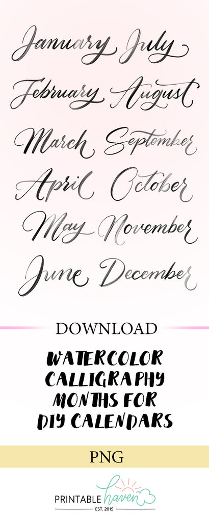 Watercolor Calligraphy Months - Black