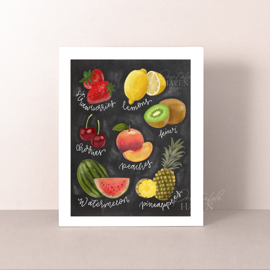 Chalkboard Fruit Lovers Art Print