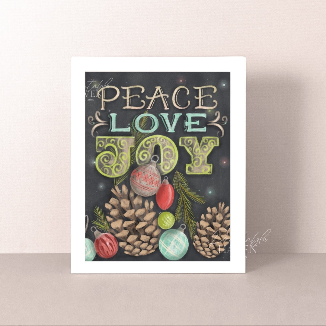 Chalkboard Peace Love Joy Christmas Art Print