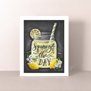 Chalkboard Squeeze the Day Art Print