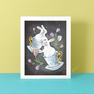 Chalkboard Easter Bunnies Art Print