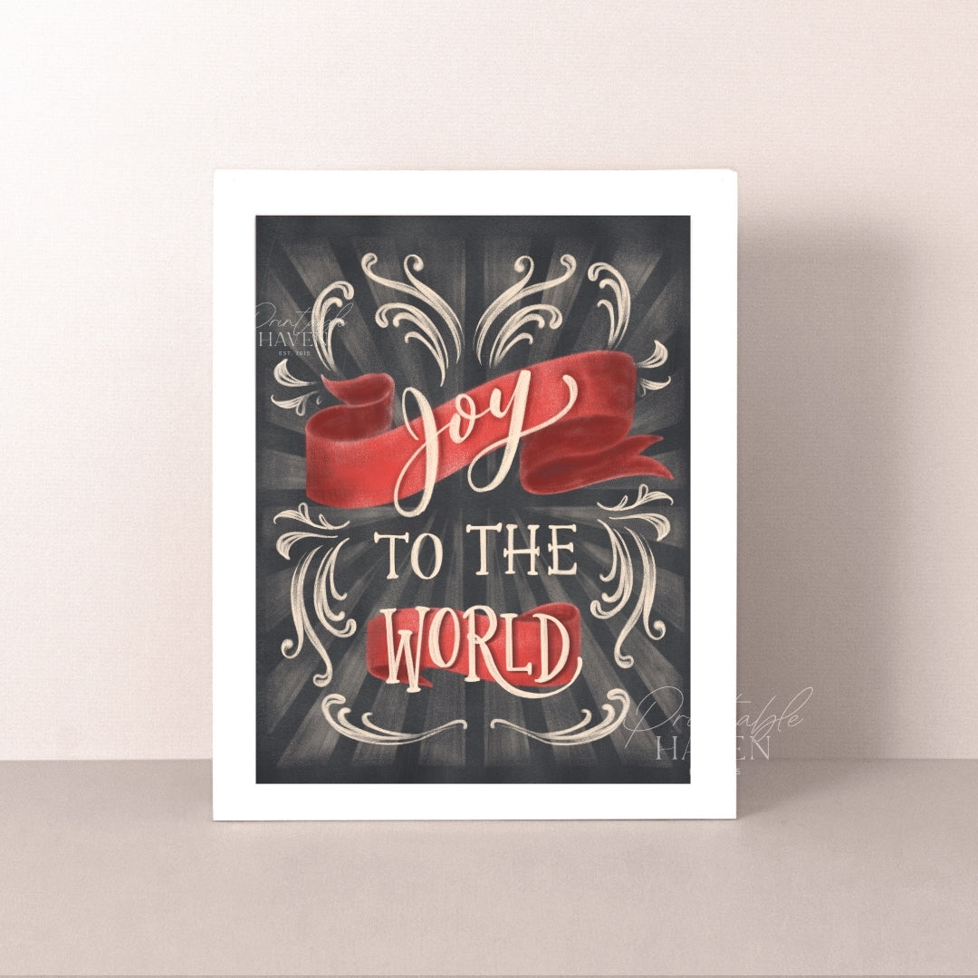 Chalkboard Joy to the World Christmas Art Print