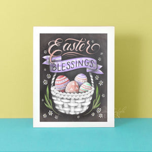 Chalkboard Easter Blessings Art Print