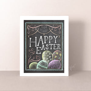 Chalkboard Happy Easter Art Print