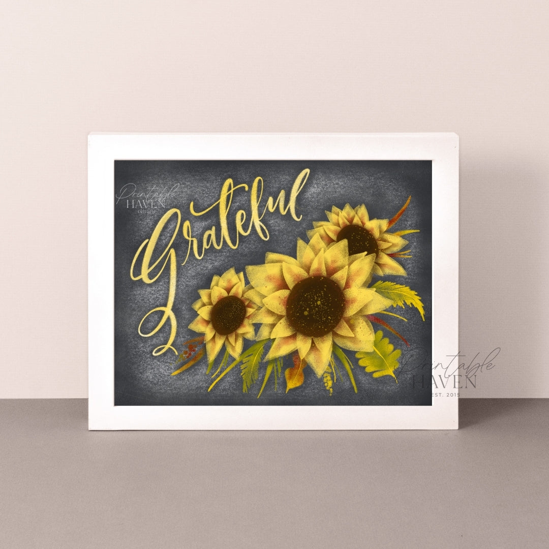 Chalkboard Grateful Sunflower Art Print