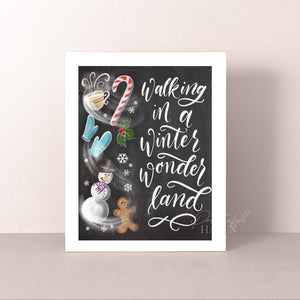 Chalkboard Winter Wonderland Art Print