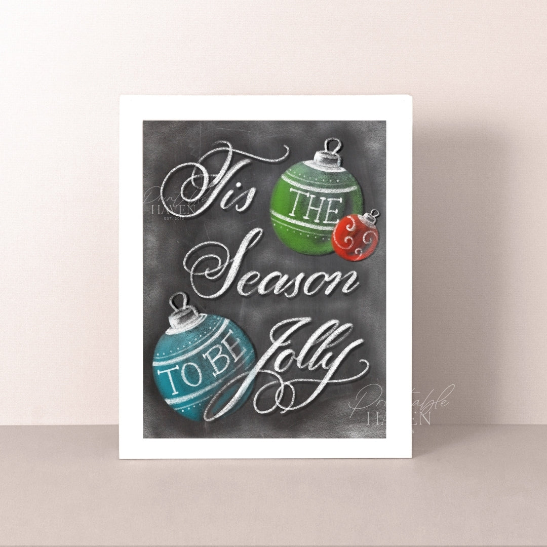 Chalkboard Tis the Season Art Print