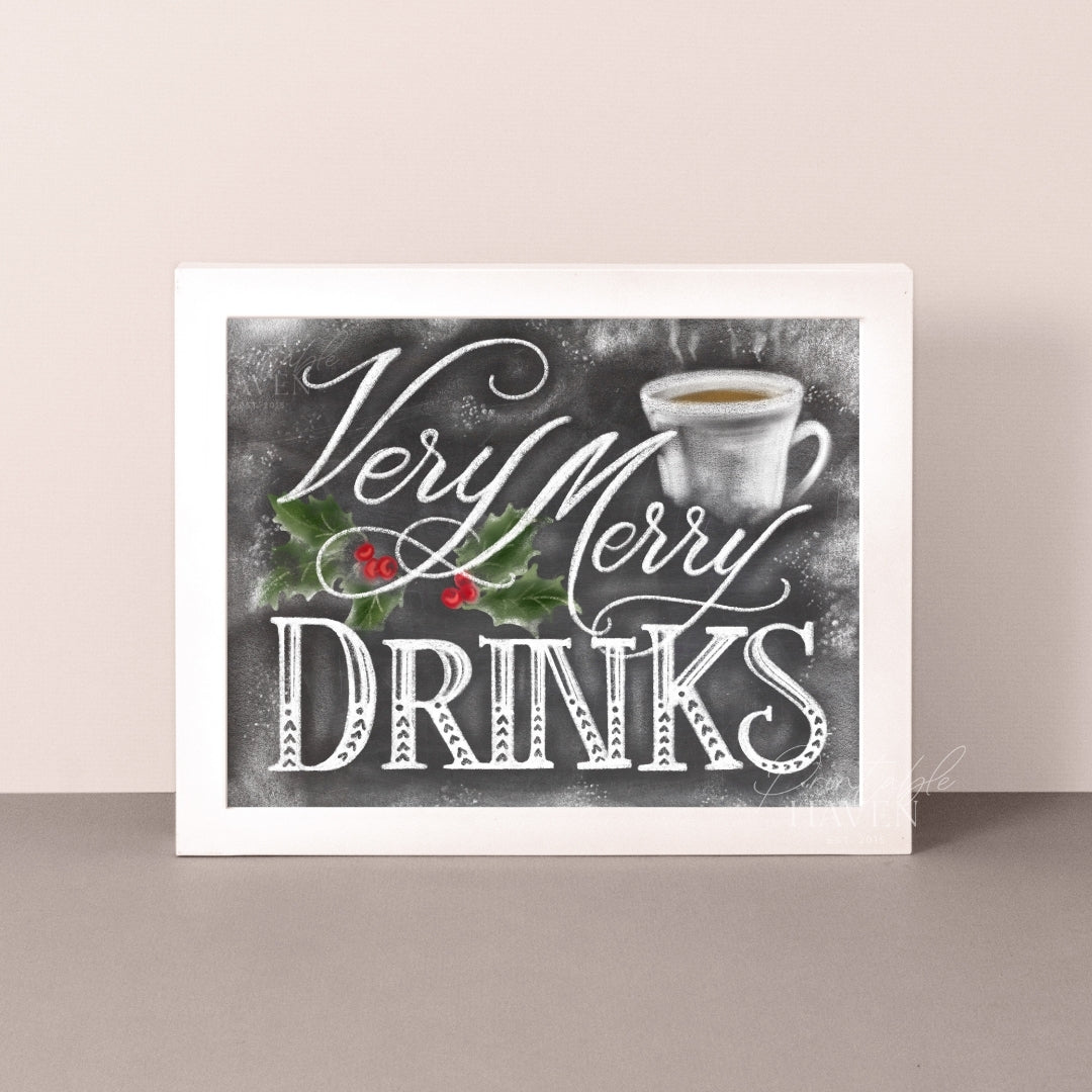 Chalkboard Very Merry Drinks Christmas Art Print