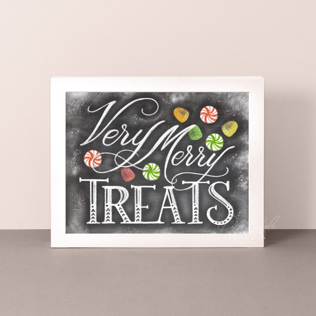 Chalkboard Very Merry Treats Christmas Art Print