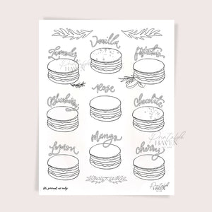 Assorted Macarons Coloring Page Printable