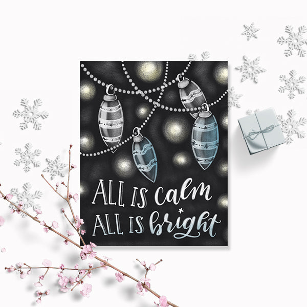 Chalkboard All is Calm All is Bright Art Print
