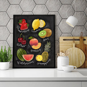 Chalkboard Fruit Lovers Art Print - PrintableHaven  - 3