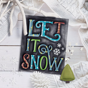 Chalkboard Rustic Let it Snow Christmas Art Print